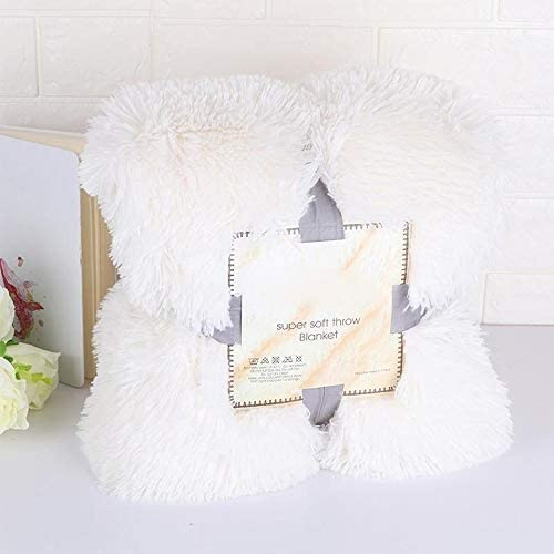 L.P.L ベッド用ふわふわスローブランケット冬の毛布を暖かくエレガントな居心地の良いスーパーソフトロングシャギー、ファジー毛皮フェイクファー (Color : 白, Size : 130x160cm)
