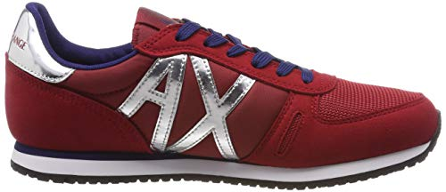 Rosso Exchange Lace Shoes Donna Mir Ginnastica Sneaker Basse red silver Armani Scarpe 00619 Microfiber Da Up vdEzwfq