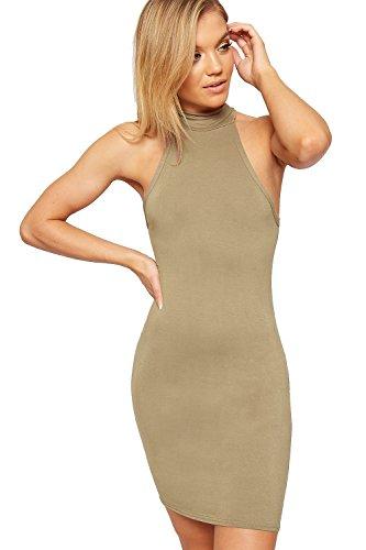 Lacets Manches Femmes Mini Court Roul Femmes Moulante 42 Moka Sans Tailles Robe Haut 36 Col WearAll tendue Robes w1YO5FFx