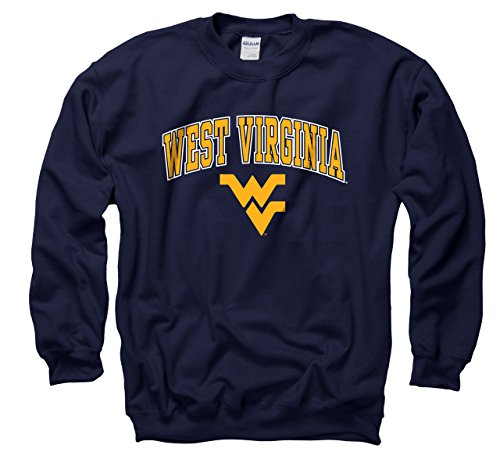 Campus Colors West Virginia Mountaineers Adult Arch & Logo Gameday Crewneck Sweatshirt - Navy, X-Large