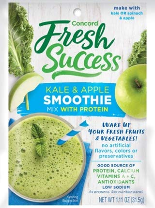 Concord Farms Kale & Apple Smoothie Mix with Protein (VALUE Pack of 18 - Mix Juice Apple