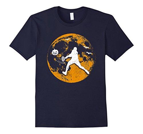 Mens Tennis Player Pumpkin Moon Halloween T-Shirt Medium Navy