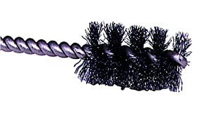 "Weiler Round Power Tube Brush, Steel, Round Shank, Single Stem, 1-1/4"" Diameter, 0.008"" Wire Diameter, 1/4"" Shank, 2000 rpm (Pack of 1)"