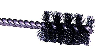 "Weiler 0.005"" Wire Size, 5/16"" Diameter, 3-1/2"" Length, Steel Bristles, Stainless Steel Stem, Round Power Tube Brush"