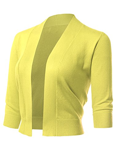 Cotton Cardigan Nylon - ARC Studio Women's Classic 3/4 Sleeve Open Front Cropped Cardigans (S-XL) S Lemon
