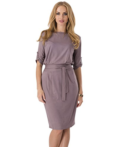 Yomeni Women's Elegant Slim Wear to work Casual Pencil Dress with Belt (Medium, Brown)
