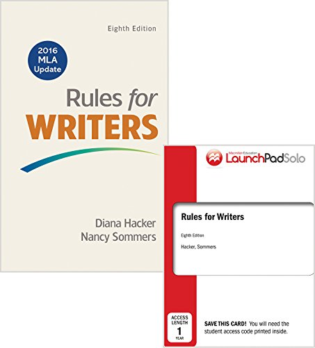 Rules for Writers 8e with 2016 MLA Update & LaunchPad Solo for Rules for Writers 8e (Twelve Month Access)