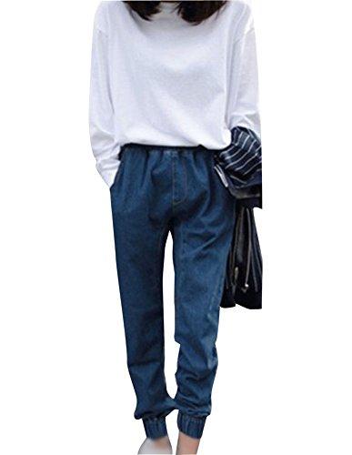 Stretch Taille Haute Jeans Femme En Vrac Sarouel Dcontracte Pantalon Bleu Fonc