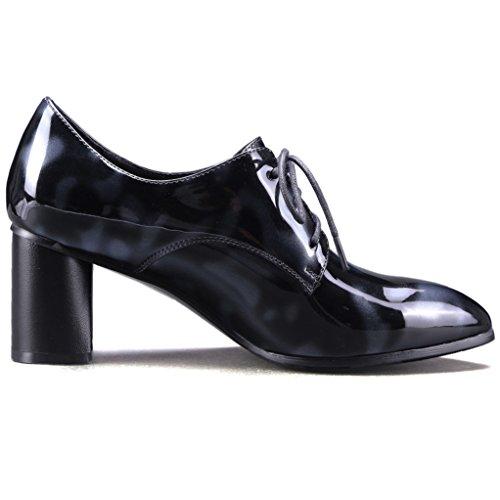 Nine Seven Cuero Puntiaguda Zapatos de Cordones de Tacón Grueso de Vestir para Mujer blanco