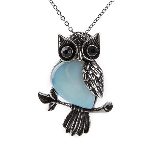 Bivei Vintage Wire Wrap Owl Healing Crystal Rose Quartz Amethyst Gemstone Pendant Necklace(Synthetic Opalite)