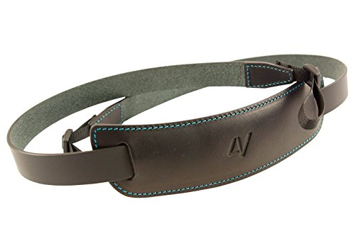 4V Design Classic Large Handmade Leather Camera Strap w/Universal Fit Kit, Black/Cyan (2CLVV0930BL)