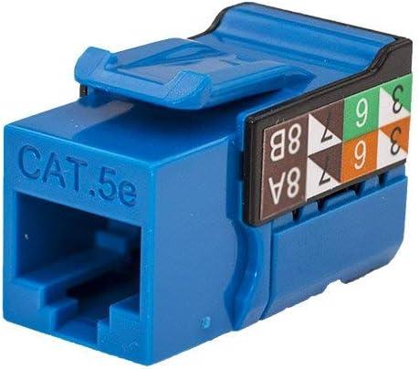 50 pack V-Max Series CAT5E RJ45 Keystone Jack Blue Color -