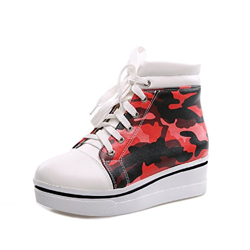 Thick Bandage Girls Red Leather Matching Platform Bottom Boots Heel Color AdeeSu Imitated UHwqZ