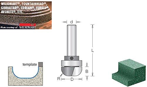 57232 Carbide Tipped Cove /& Backsplash with Ultra-Glide Radius Bearing Guid Amana Tool