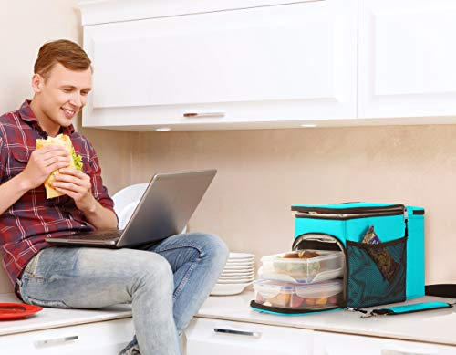 Zuzuro Lunch Bag Insulated Cooler Lunch Box w/ 3 Compartment - Heavy-Duty Fabric, Strong SBS Zippers - Includes 3 Meal Prep Lunch box Containers + 2 Ice Packs. For Men Women Adults (Turquoise) by Zuzuro (Image #3)