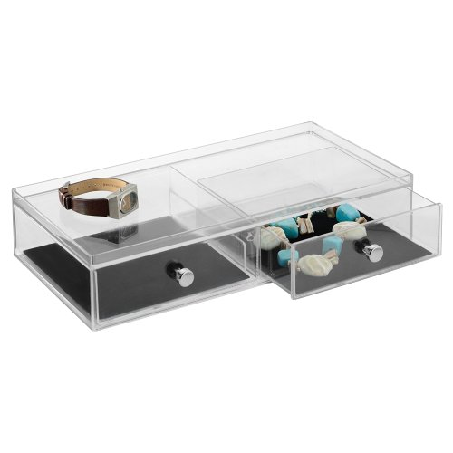 InterDesign Clarity Vanity Jewelry Organizer, 2-Drawer Wide, Clear/Black