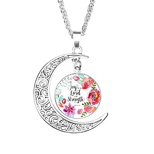 (LEODI Charm Crescent Moon Christian Necklace Religious Bible Verse Gift for Women Girls,Glass Cabochon Pendant Silver Hollow Crescent Moon Choker Vintage Chain Jewelry)