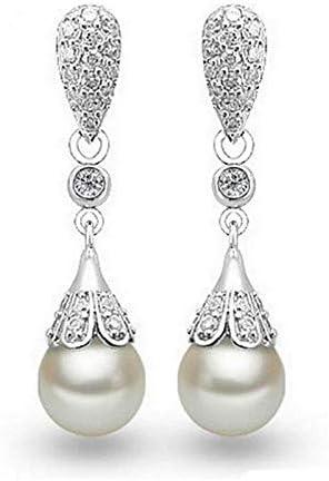 kritisery Damen Ohrring Anhänger,925 Sterling Silber Ohrringe Mosaik Zirkon Perle Wassertropfen Quaste Ohrringe für Frauen