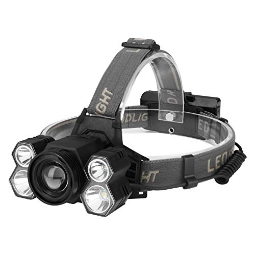 Camping & Hiking,Dartphew 1Pcs [ Cool LED Headlamp Rechargeable Head Light Flashlight Torch Lamp ] - Waterproof Outdoor Camping - 5 modes & 90 degree rotatable head (Black) by Dartphew Camping & Hiking