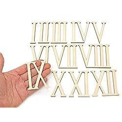 12pcs Wooden Roman Numerals Shape Wood Numerics Numbers Ornaments Craft Decoration (7cm high)