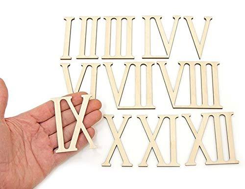 12pcs Wooden Roman Numerals Shape Wood Numerics...