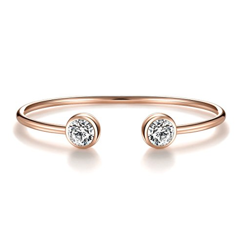 ISAACSONG.DESIGN Rose Gold Silver Tone Cuff Bangle Bracelet Zirconia Crystal Stone Jewelry for Women (Rose Gold) (Gold Stackable Bracelet)