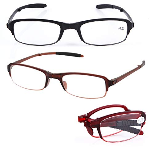 SOOLALA 3 Pairs Mixed Color Mini TR90 Folding Reading Glasses with Clip Holder Zipper Case 7 Strengths, ()