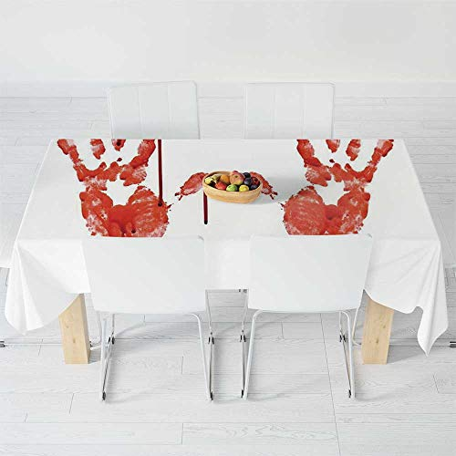 TecBillion Printed Tablecloth,Horror,for Rectangle Table Kitchen Dinning Party,120 X 60 Inch,Handprint Like Wanting Help Halloween Horror Scary ()