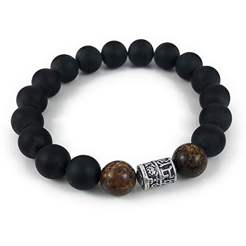 Ballari Mens Onyx Bracelet, 10mm Black Bead Bracelet for Men, Tibetan Buddhist Prayer Mantra Bead, Mens Healing Root Chakra Bracelet (Bead Bali Bracelet)
