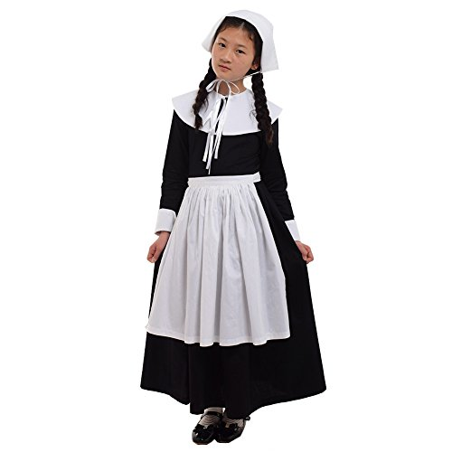 GRACEART Renaissance Pilgrim Girl Puritan Costume 100% Cotton (US Size-08, Puritan Costume)]()