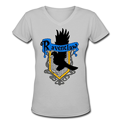 [DeMai Women's V-Neck Short Sleeve Harry Potter Ravenclaw Shirt XL DeepHeather] (Ravenclaw Mascot)
