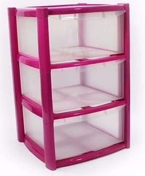 3 Drawer Plastic Storage Unit Pink & 3 Drawer Plastic Storage Unit Pink: Amazon.co.uk: Office Products