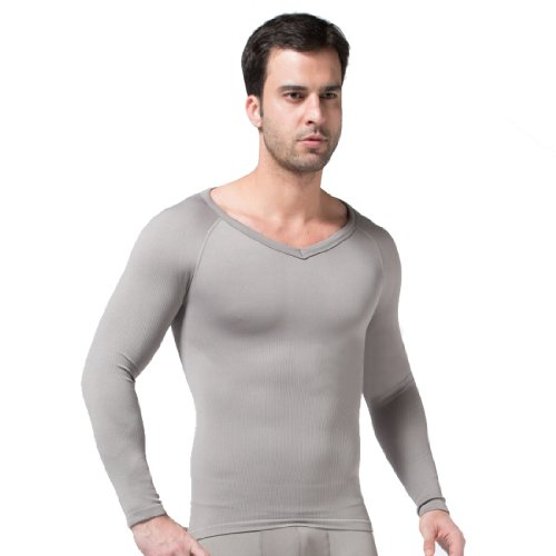 Mens Comfortable Compression Body Shaper Long Sleeve V-neck Shirt SS-M04 Grey (XL) ()