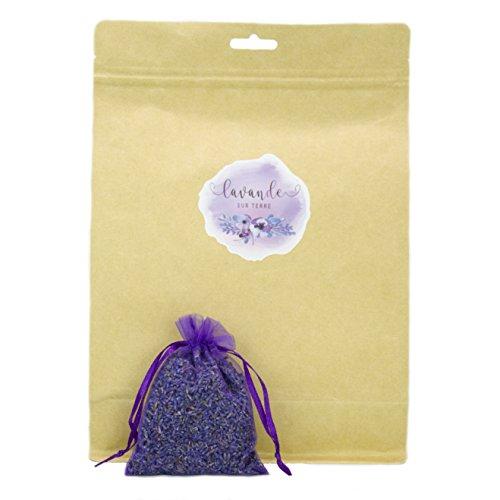 D'vine Dev Lavande Sur Terre Pack of 12 Large Lavender Sachets Filled with French Lavender Flower Buds - Natural Deodorizer - Premium Ultra Blue Lavender Flower Buds
