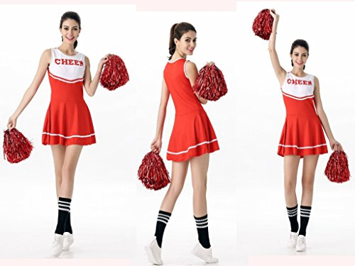 White Cheerleader Outfit - COSAUG Sexy High School Cheerleading Skirts Cheer Costume with Socks Complete Outfit (red/White)
