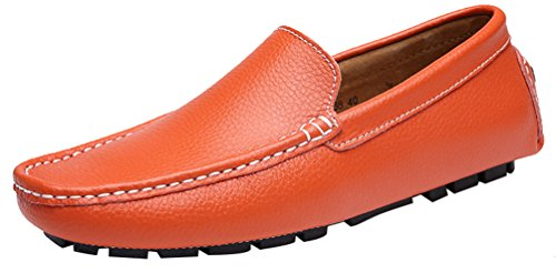 CFP 9668 Mens Slip On Occasions New Flexible Loafers Driving Shoes Orange fzw18f