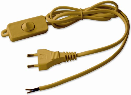 Electraline 70528 - Cable con clavija e interruptor (1,5 m), color