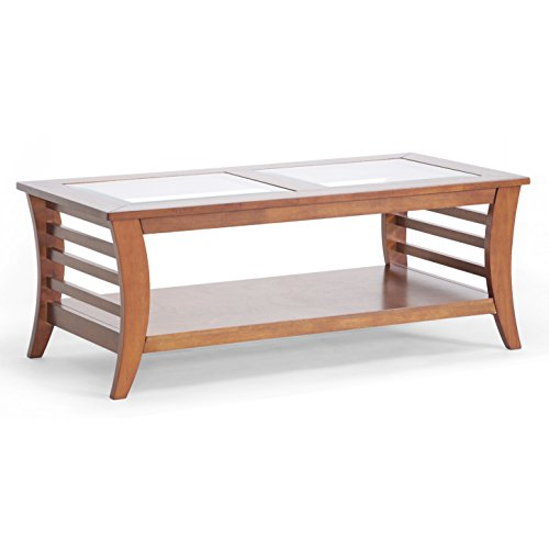 Baxton Studio Allison Honey Brown Wood Modern Coffee Table with Glass (Wholesale Interiors Glass Coffee Table)