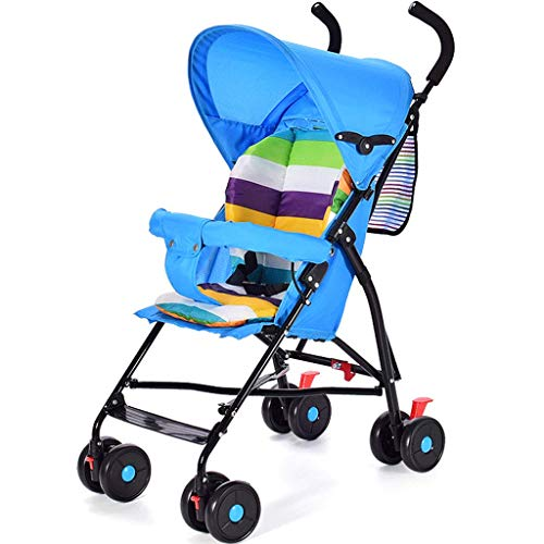 DZFZ Strollers Toddlers Multifunctional Lightweight Folding Cushioning Park Walking Baby Stroller Girl (Color : Blue)