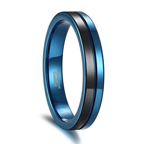 4mm Women Men Tungsten Wedding Band Two Tone Black Blue Centre Groove Thin Engagement Ring Size 12 Classy Design Wedding Band Ring