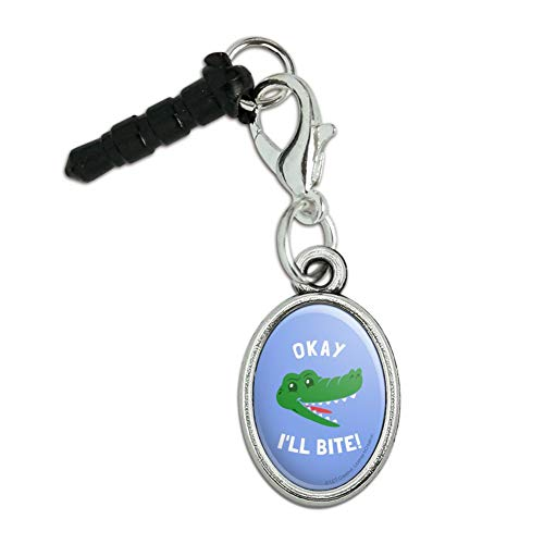 Funny Humor Jewelry - GRAPHICS & MORE Okay I'll Bite Crocodile Alligator Funny Humor Mobile Cell Phone Headphone Jack Anti-Dust Oval Charm fits iPhone iPod Galaxy
