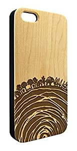 Genuine Maple Wood Organic Earth Tree Rings Snap-On Cover Hard Case for iPhone 5/5S