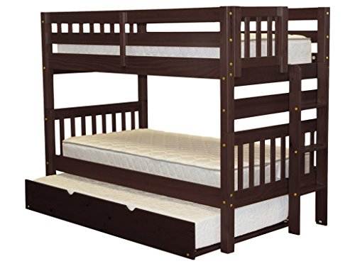 Bunk Bed Twin over Twin with End Ladder and a Twin Trundle, Cappuccino