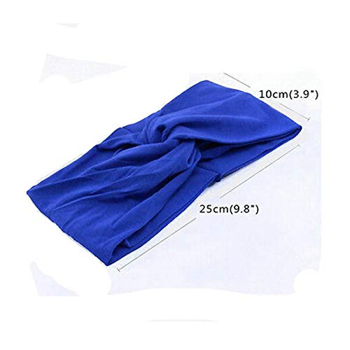 Women Cotton Turban Twist Knot Head Wrap Headband Twisted Knotted Hair Band (Item Color - Blue)