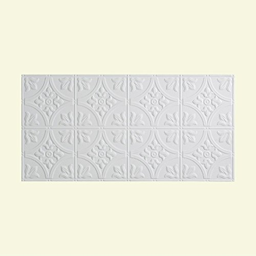 Fasade Easy Installation Traditional 2 Matte White Glue Up Ceiling Tile Ceiling Panel  2 X 4 Panel