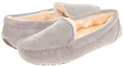 Slip Moccasins (Floopi Womens Indoor Outdoor Fuax Fur Lined Moccasin Slipper W/Memory Foam (XL, Grey-306))