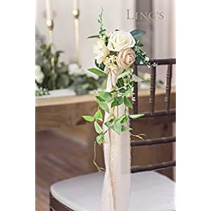 Ling's moment Wedding Aisle Decorations Flowers for Chairs Set of 8 Cream Blush Pew Flowers with Drapes 3