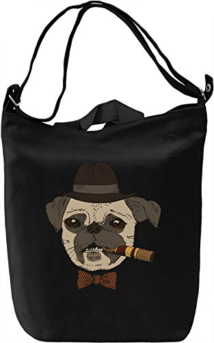Bowtie pug Borsa Giornaliera Canvas Canvas Day Bag| 100% Premium Cotton Canvas| DTG Printing|