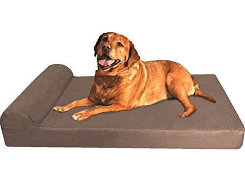 Dogbed4less Premium Large Head Rest Orthopedic Gel Cooling Memory Foam Pet Dog Bed, Waterproof Internal Case and Durable External Denim Cover 47