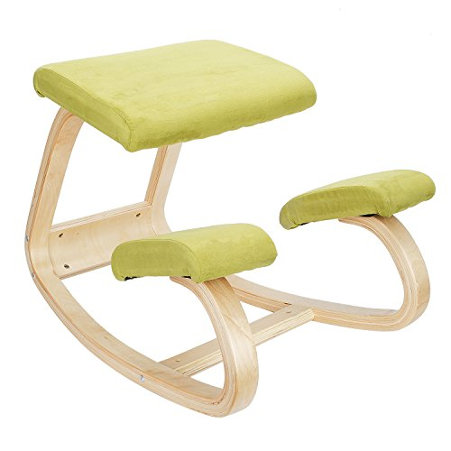 Wooden Ergonomic Kneeling Office Chair with Comfortable Cushions, Balancing Home Work Chair, Improves Posture for Adult, Child-Lightwish